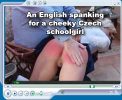Cheeky Czech schoolgirl spanked