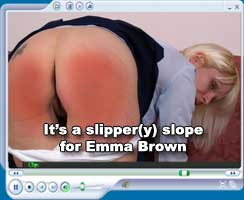 A slipper spanking for schoolgirl Emma Brown