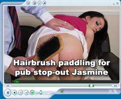Hairbrush paddling for Jasmine Lau